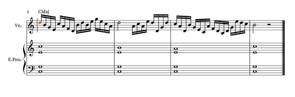 Arpeggios of chords improvisation as an improvement on the violin