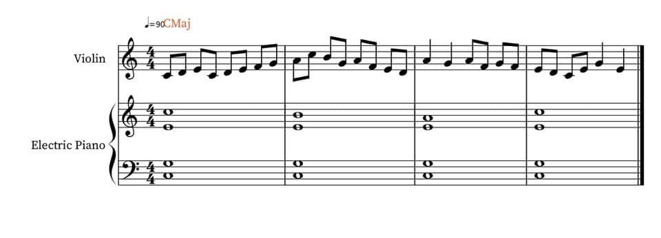 Simple first improvisation in C on the violin