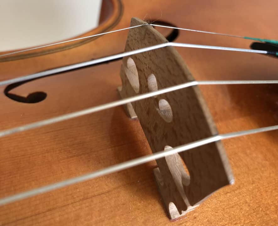 where to place the bridge on a violin